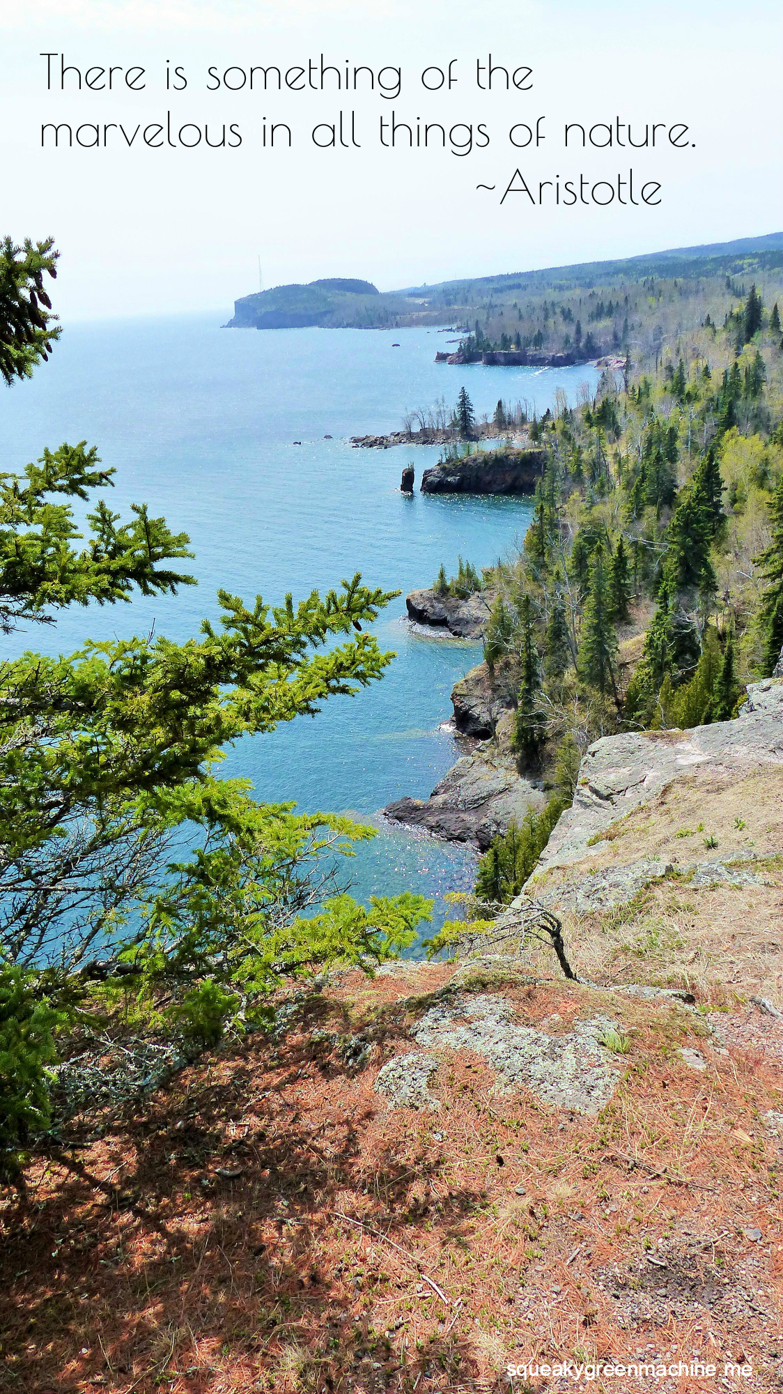 "the minnesota north shore shoreline with the quote ""There is something of the marvelous in all things of nature. "" Aristotle"